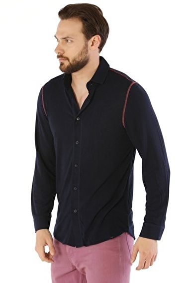 Silk and Cashmere Tişört Lacivert